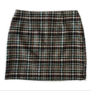 H&M Wool Blend Herringbone Mini Skirt